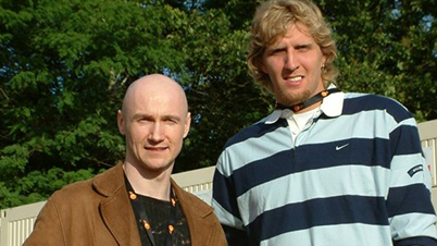 With Dirk Nowitzki (NBA champion 2011) backstage at the 'Wetten Dass…' TV Show - Berlin/ Germany, 2004