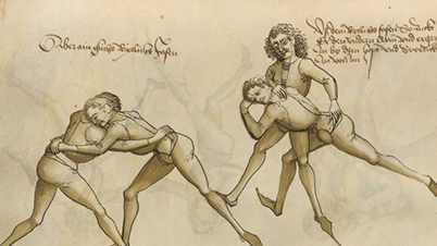 Drawing from the book 'Fight Earnestly' by Hans Thalhoffer – Bavaria, 1459